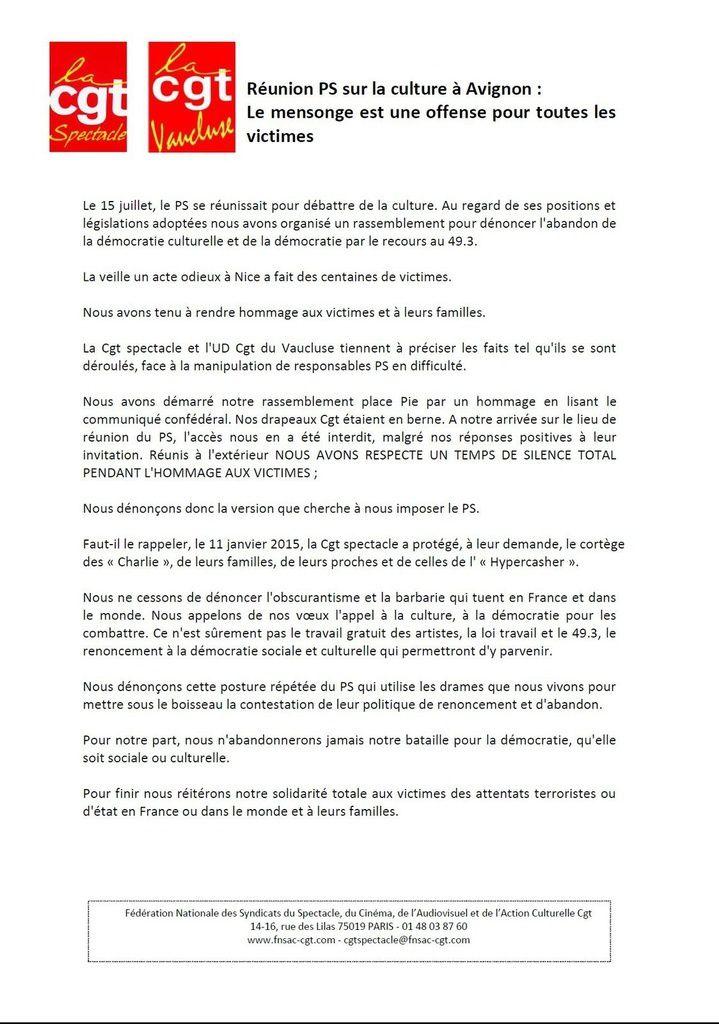 Avignon : Réponse à la MANIPULATION du PS contre la CGT