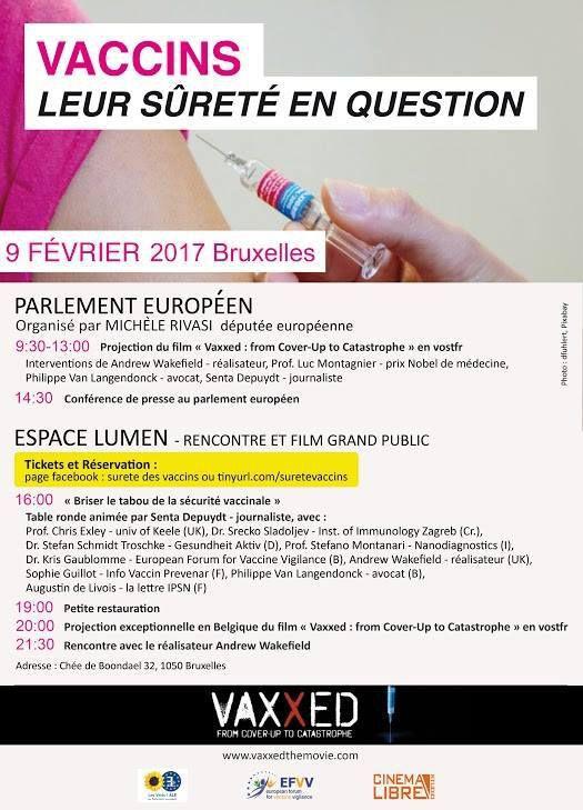 Vaccins: leur sûreté en question (9 février au Parlement européen: avec Michèle Rivasi, Dr Wakefield, Pr Montagnier, Me Vanlangendonck, Senta Depuydt)