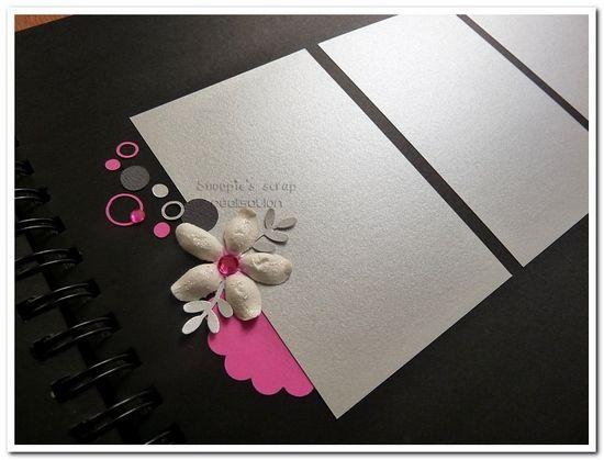 Livre d'or Aurélie & Gaël : Fushia, blanc, argenté et anthracite. Thème bulles & fleurs