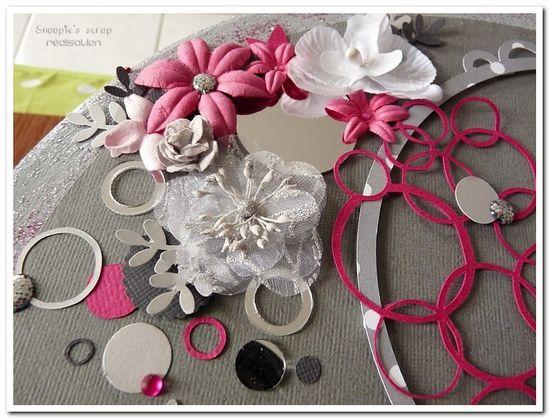 Urne Aurélie & Gaël : bulles & fleurs - fuschia, gris argent, anthracite & blanc.