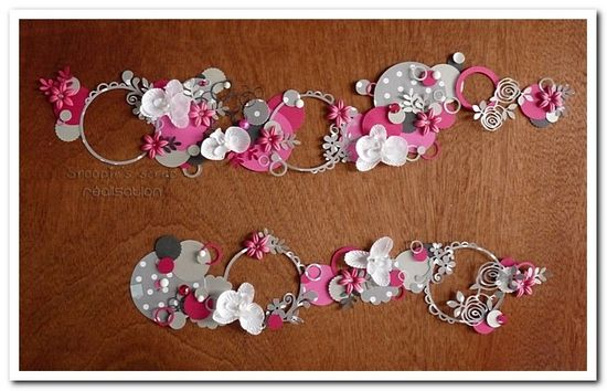 Décoration pour plan de table Aurélie & Gaël : bulles & fleurs, fuschia, gris argent et anthracite, et touches de blanc.