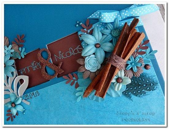 Livre d'or Jennifer & Nicolas - exotique - turquoise & chocolat