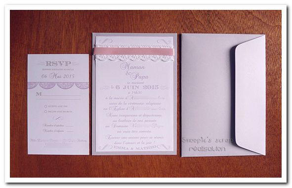 Faire-part de mariage Mélanie & Anthony - vintage & romantique - rose, parme & ivoire