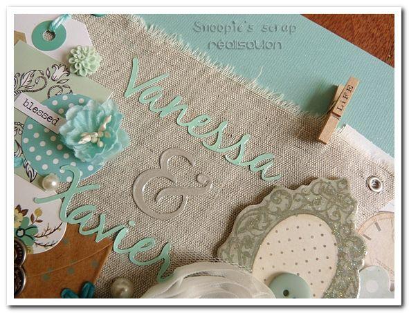 Livre d'or Vanessa & Xavier - vintage rétro shabby chic - tons de bleu, vert d'eau, gris