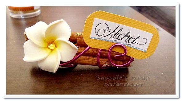 Porte-nom invité & étiquettes - Sonia & Quentin - exotique & oriental - jaune, orange, fushia & turquoise avec touches dorées