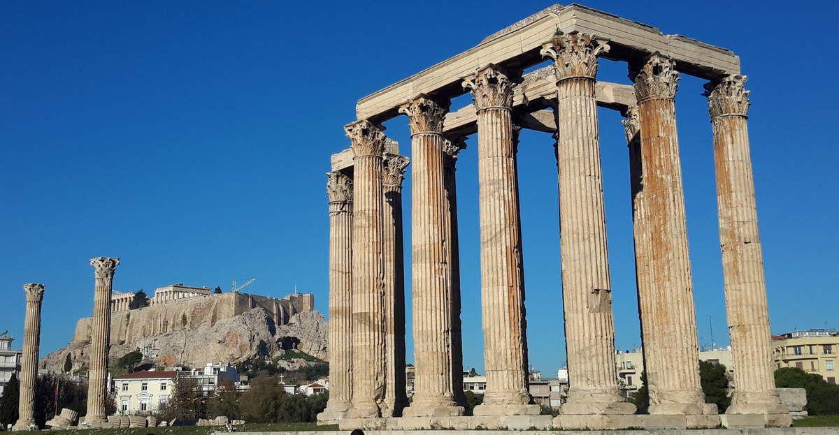 Acropole vue du Temple de Zeus, frise du Temple
