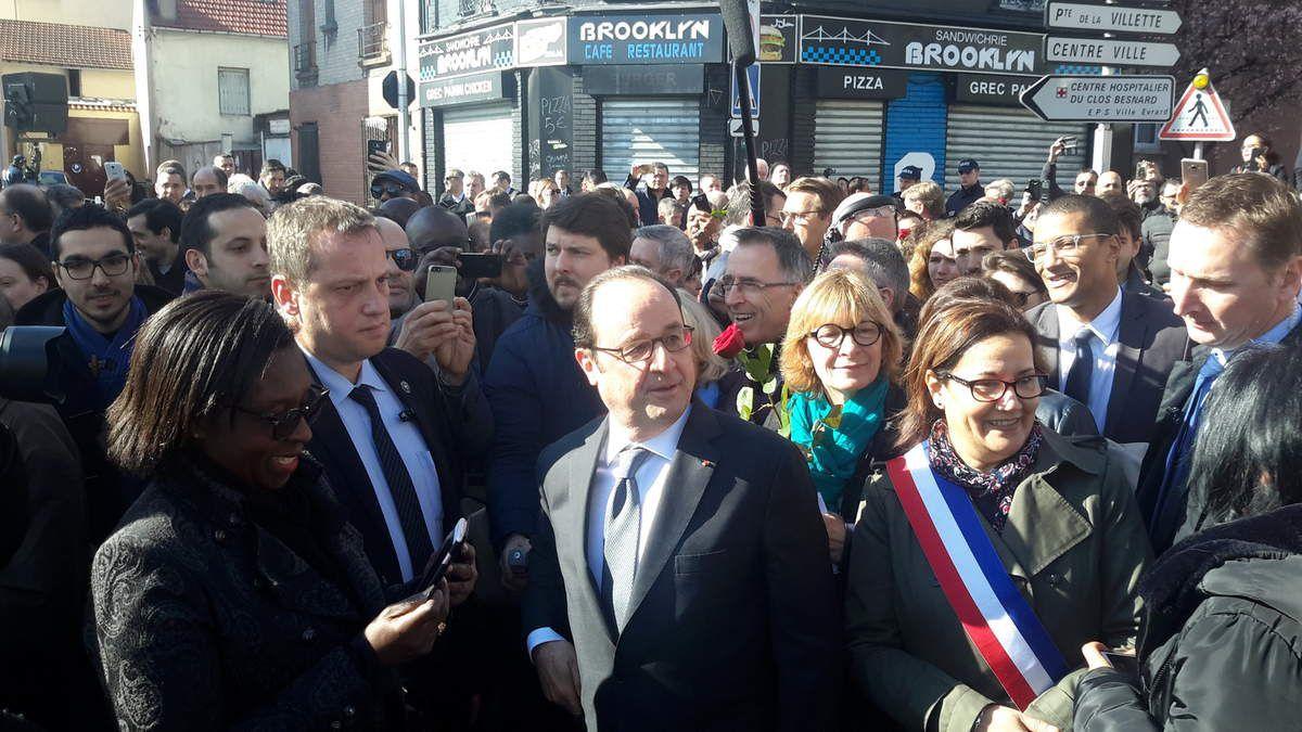 François Hollande,président de la République, Évelyne Yonnet-Salvator, Meriem Derkaoui, maire d'Aubervilliers
