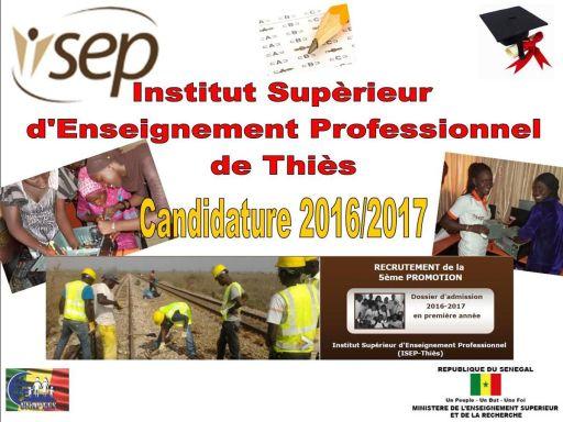 Admission à l'ISEP de Thiès 2016-2017