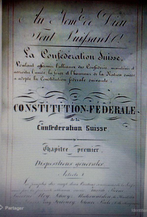 La Suisse est un pays libre placé sous la protection divine, du Dieu Céateur