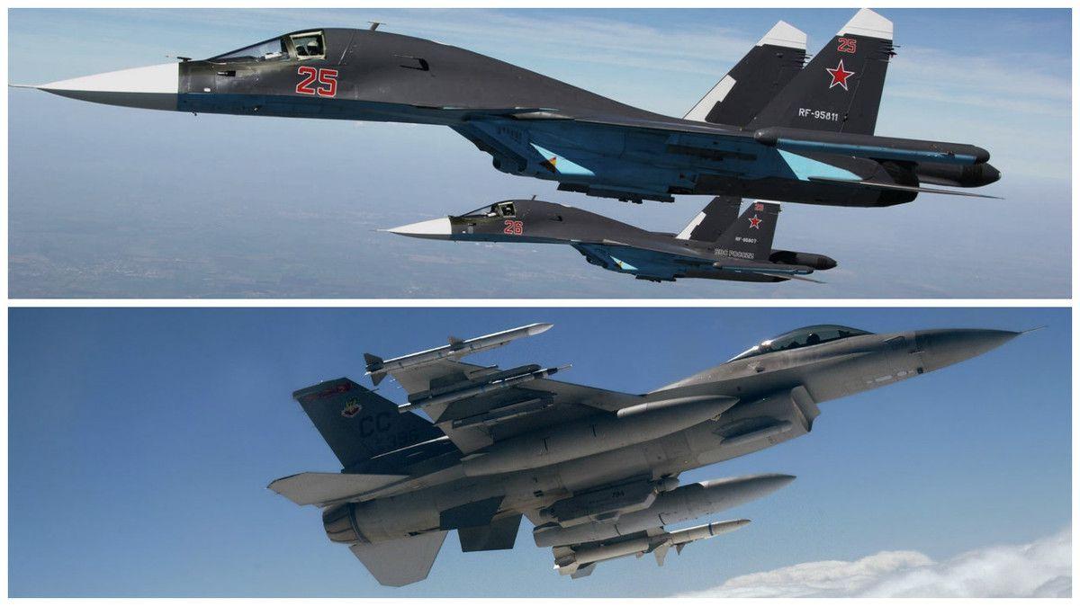 Des chasseurs-bombardiers russes Su-34 et américains F-16.