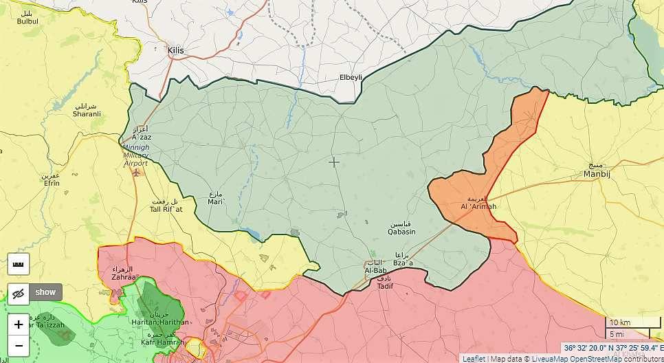 Situation militaire au nord du gouvernorat d'Alep, le 16/03/2017. On voit en rouge la zone rétrocédée par le CMM aux forces gouvernementales à l'ouest de Manbij.