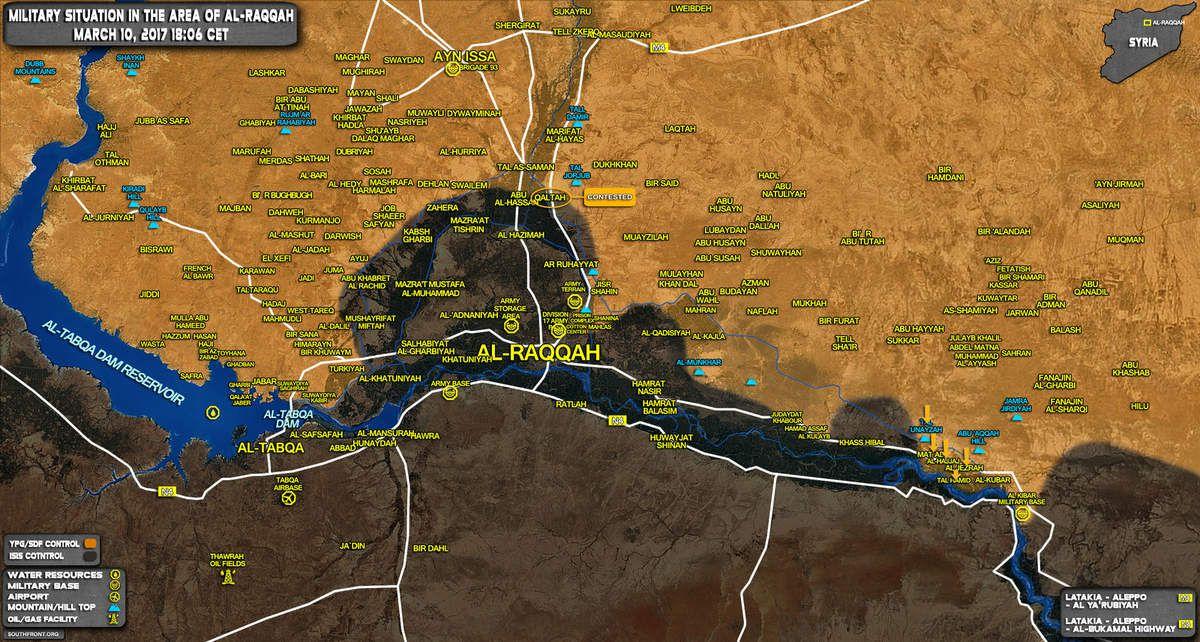 Situation militaire au sud du gouvernorat d'Ar-Raqqa, le 10/03/2017. En jaune les zones sous le contrôle des FDS ; en noir de l'EI.