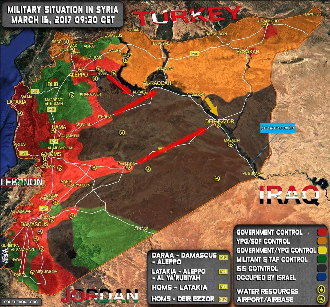 Situation militaire en Syrie, le 15/03/2017. Les flèches indiquent le mouvement probable des forces en présence à destination de Raqqa et Deir ez-Zor.