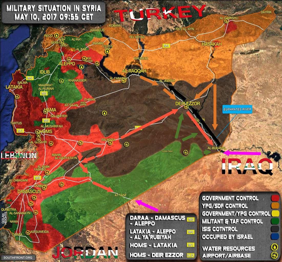 Cartes des mouvements potentiels à venir pour le contrôle de l'Est syrien. En rouge : les forces gouvernementales ; en vert : les rebelles ; en orange : les FDS ; en noir : l'EI ; en violet : les forces gouvernementales irakiennes. SouthFront, modifiée.