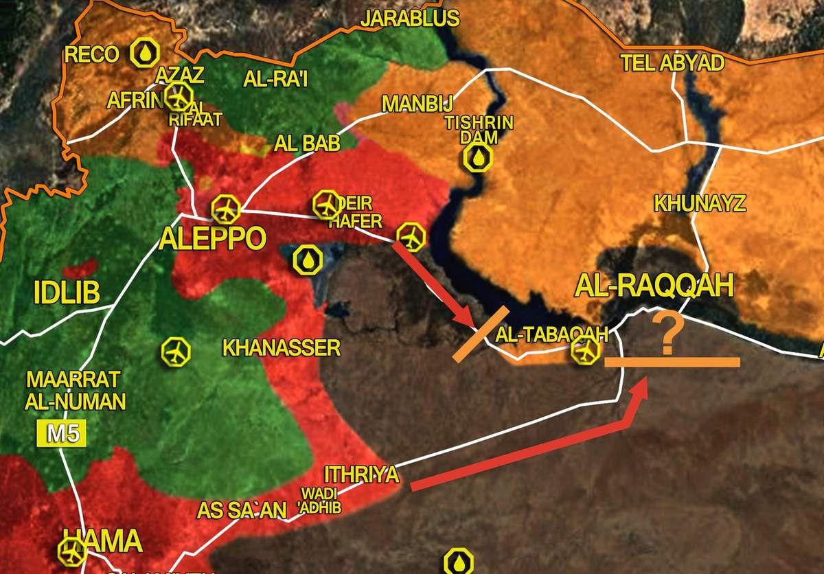 Carte des mouvements bloqués des forces gouvernementales pour reprendre Raqqa après la capture de Taqba par les FDS. SouthFront, modifiée.