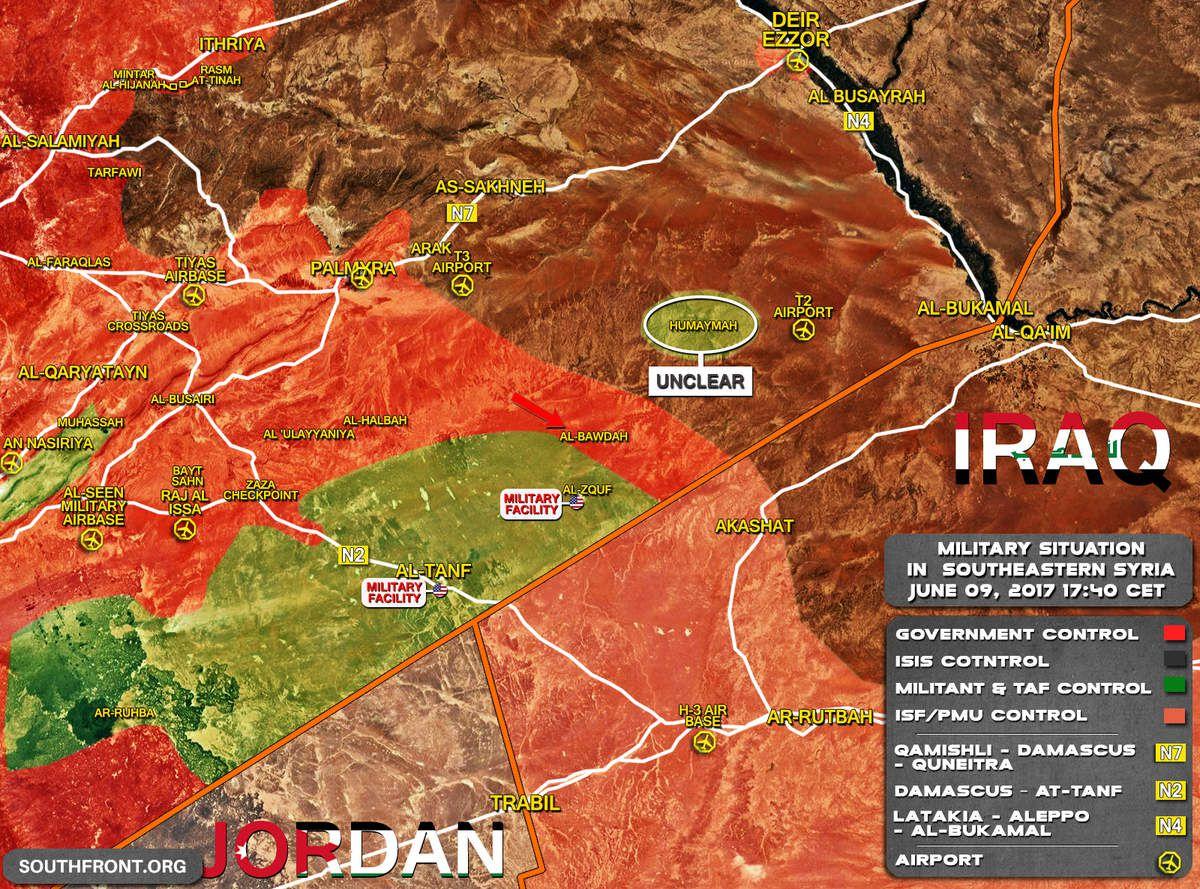 Situation militaire au sud-est de la Syrie le 09/06/2017. En rouge les forces gouvernementales syriennes ; en vert les rebelles syriens ; en rose les forces gouvernementales irakiennes ; en noir l'Etat islamique. © South Front.