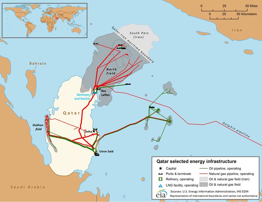 Carte des infrastructures énergétiques du Qatar. © U.S. Energy Information Administration, IHS EDIN.
