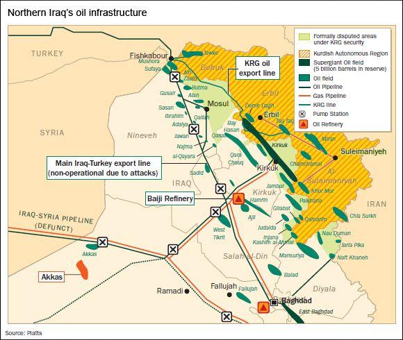 En jaune : la région autonome du Kurdistan ; en vert clair : les zones contrôlées par les Kurdes mais disputées avec le gouvernement central ; en vert foncé le gisement géant de pétrole de Kirkouk ; en vert : les autres champs de pétrole.
