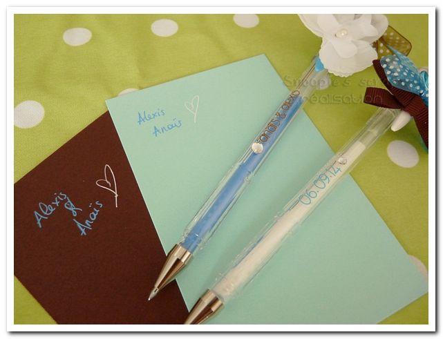 Stylos Anaïs & Alexis - turquoise & chocolat - exotique