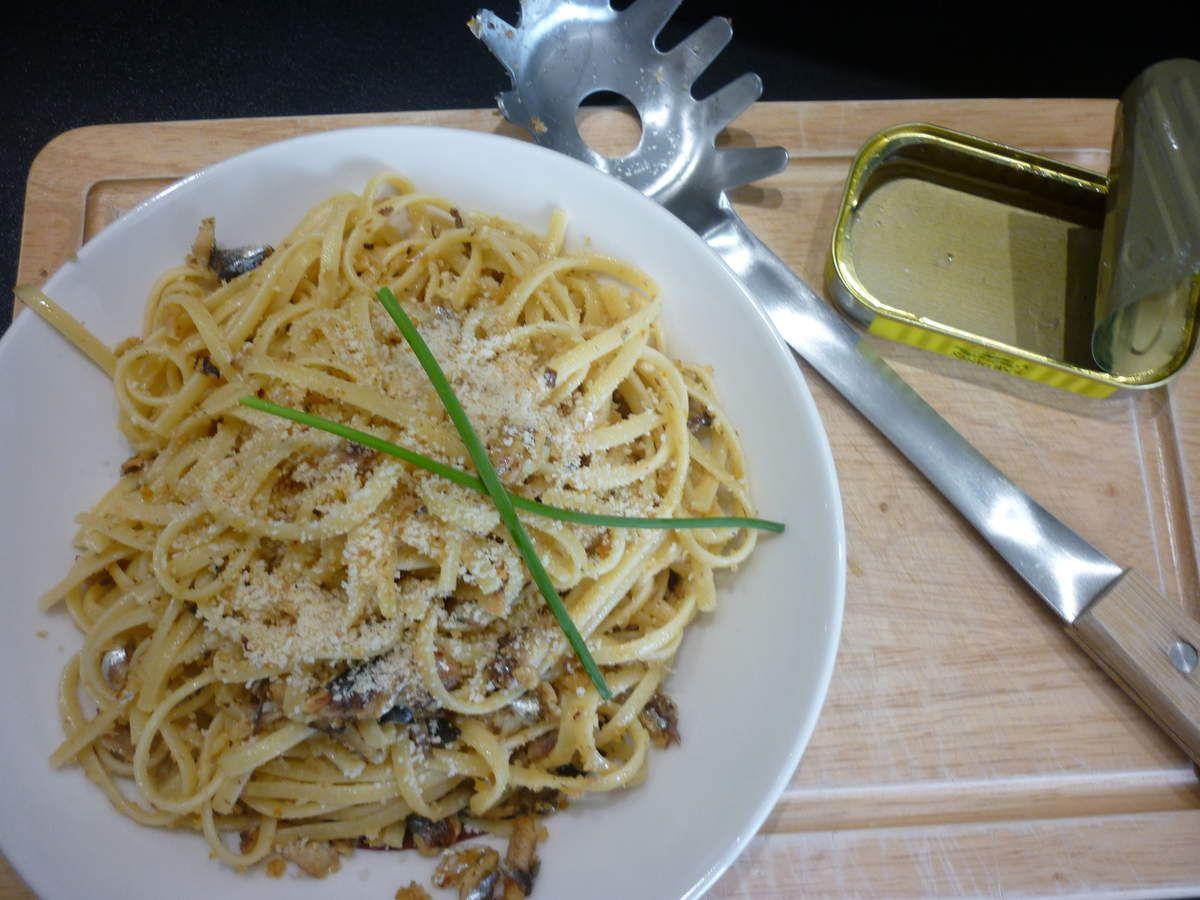Spaghettis aux sardines à l'huile