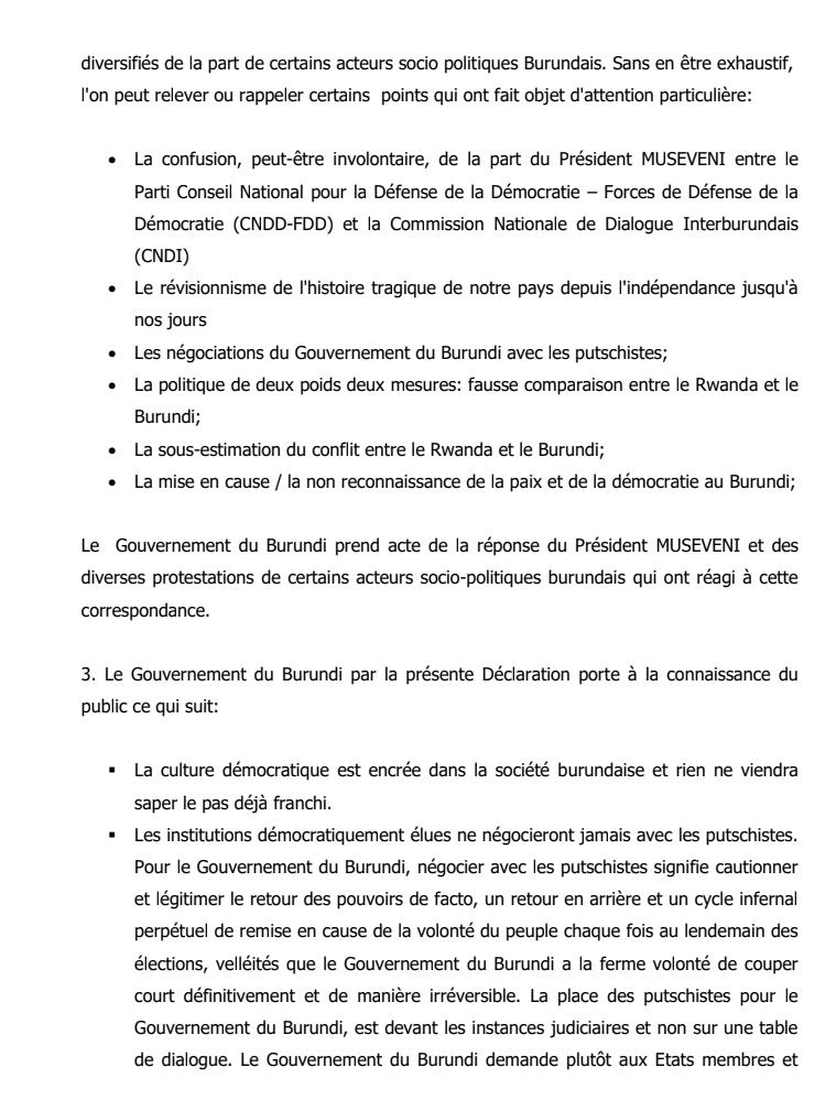 Déclaration du gouvernement du Burundi consécutive aux différentes réactions des acteurs socio-politiques burundais aux échanges de correspondances entre les présidents du Burundi et de l'Ouganda