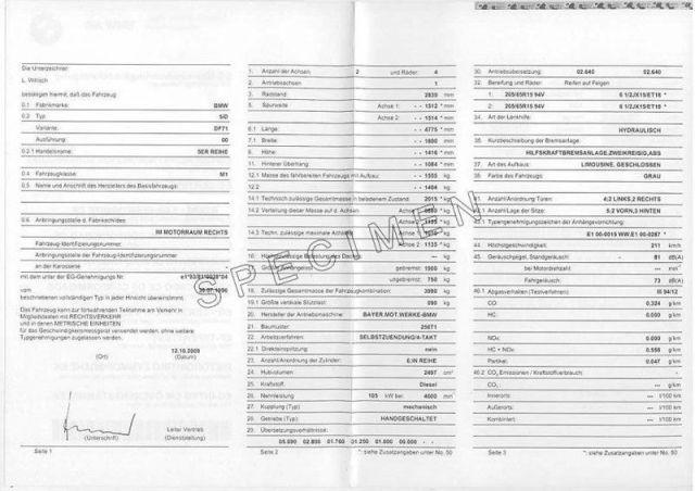 Certificat de conformité Bmw