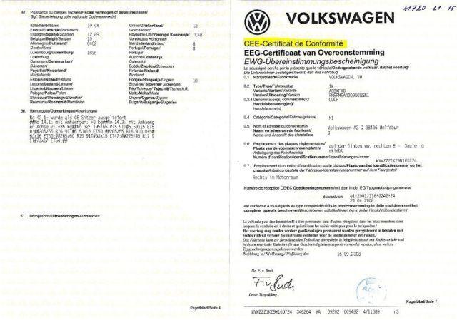 certificat de conformite europeen COC Volkswagen