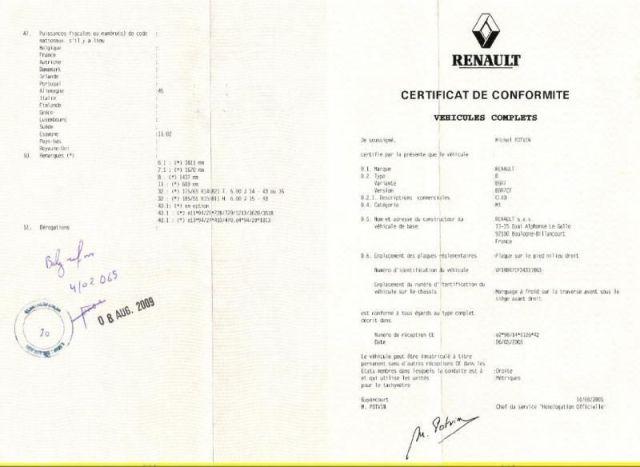 Certificat de Conformité Voiture hybride