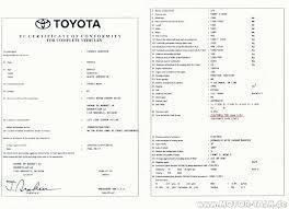 Demande de certificat de conformité Toyota