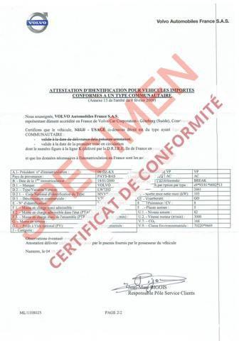Demande de certificat de conformité Volvo