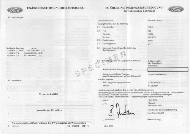 Demande de certificat de conformité Ford