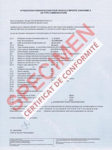 Comment obtenir un certificat de conformité pour une voiture importée?