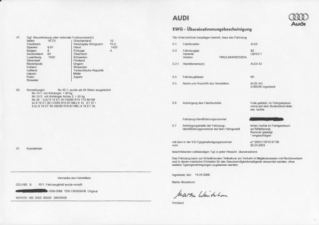 Comment obtenir uncertificat de conformité Audi Gratuit