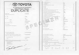 certificat de conformité Toyota pas cher