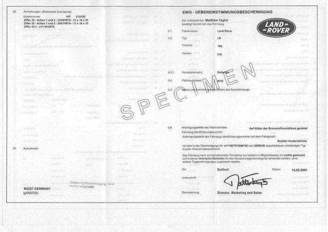 Certificat de Conformité Land rover Gratuit