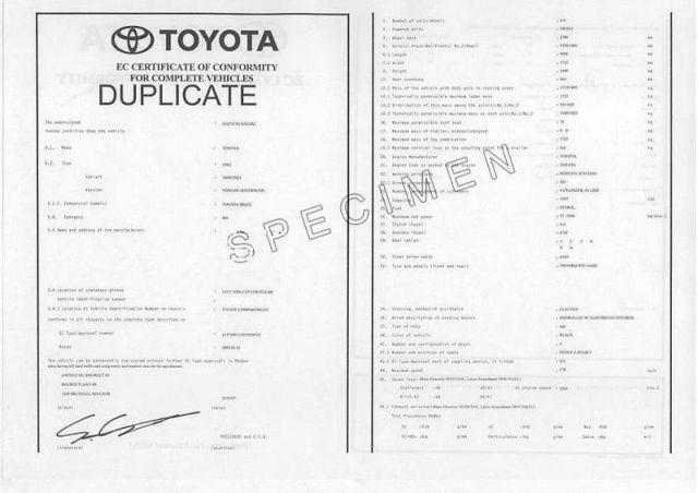 Certificat de conformité GRATUIT TOYOTA AU 03 68 38 18 00 ou au 08 91 03 88 18 mais également par mail info@euro-conformite.com