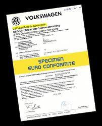 Certificat de conformité COC VW Gratuit