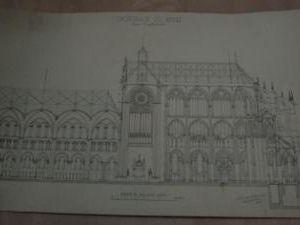 Plan d'architecte manuscrit à l'encre de chine et crayon.Les planches, sales, avec des taches, ont été nettoyées et, sur demande, doublées sur papier japonais pour des raisons de montage (encadrement)