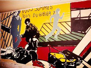 Fresque à l'arrivée de la Marche en 1983 - Banderole à la manifestation de 2015