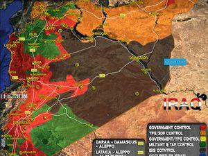 Situations militaires en Syrie au 27/04 et 11/05/2017. On voit distinctement l'important gain territorial rebelle le long de la frontière syro-irakienne (cliquez pour agrandir).