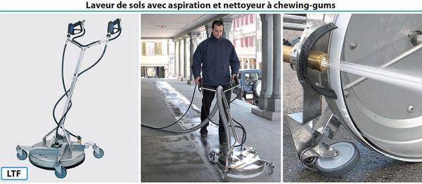Laveur de sols avec aspiration et nettoyeur à chewing-gums