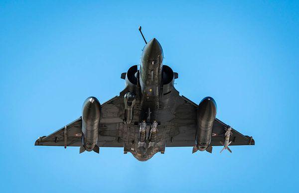 Photo : (c) EMA / Armée de l'Air - Décollage d'un Mirage 2000D depuis la Jordanie.