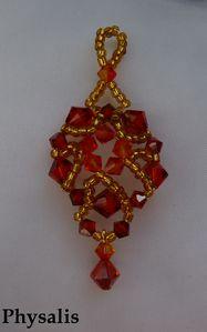pendentif perles toupies rouge