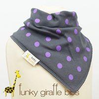 bandana bavoir funky girafe pois violet gris