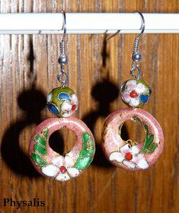 boucle d'oreille perle rose et vert