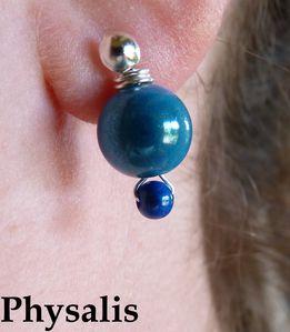 boucle d'oreilles perles bleues