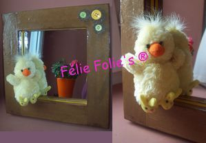 miroir peluche en carton- cadre miroir bois enfant peluche poussin - https://felieetsesmonstresgentils.com