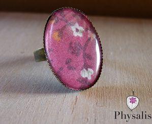 bague tissus fleuri rose