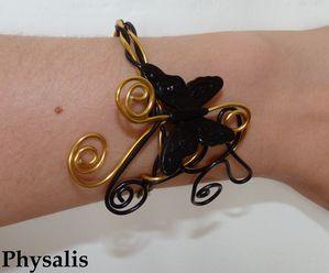 bracelet papillon or et noir