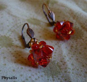 boucle d'oreille perles toupies rouge